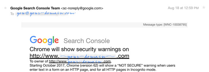 Google warning about needing to migrate to HTTPS before October 2017