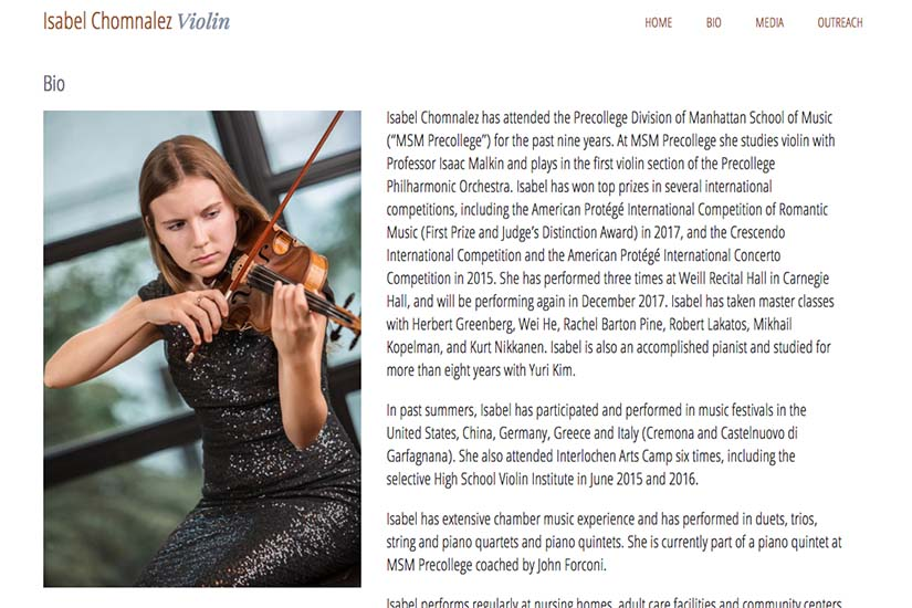 web design for a young violinist - biography page