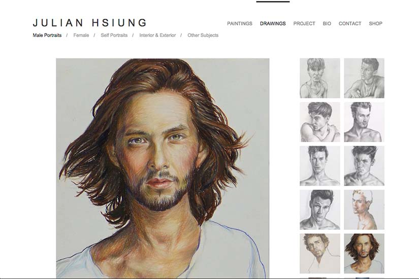 web design for an artist - drawings portfolio page