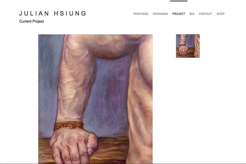 web design for an artist - current projects page