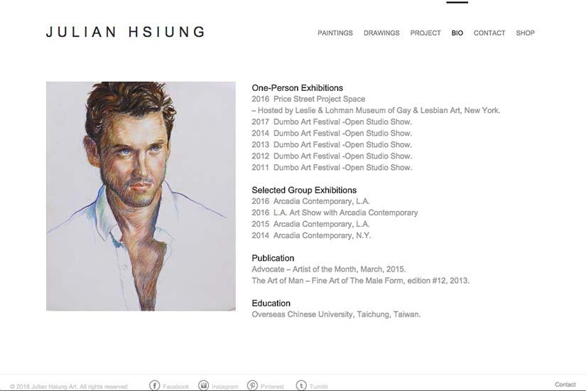 web design for an artist - biography page