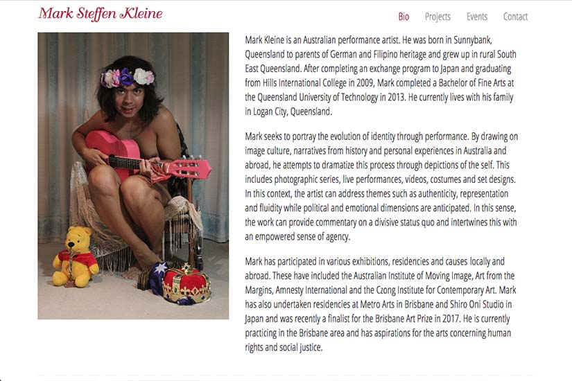 web design for an Australian performance artist - biography page