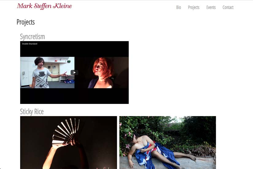 web design for an Australian performance artist - projects index page