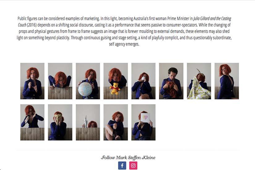 web design for an Australian performance artist - julia gillard speech project