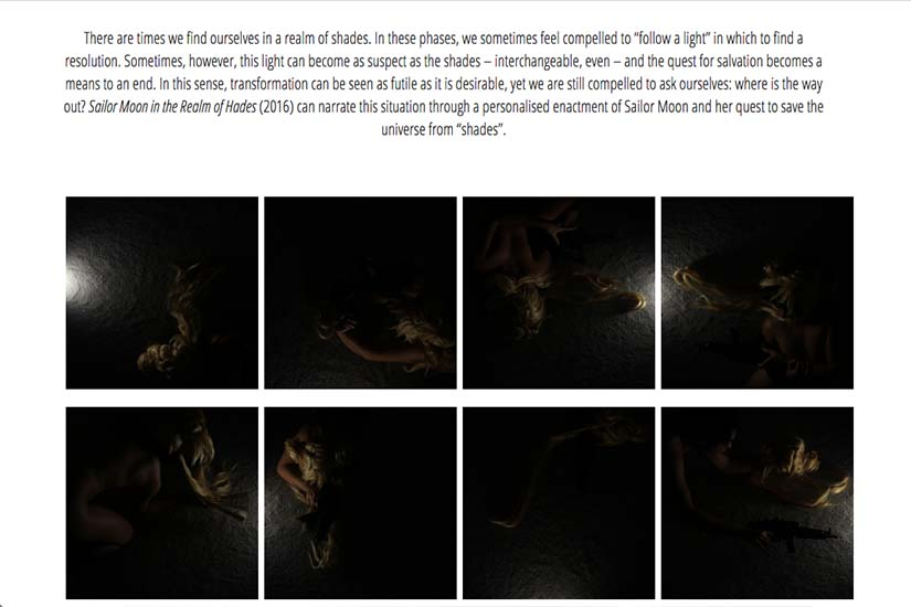 web design for an Australian performance artist - sailor moon thumbnails grid