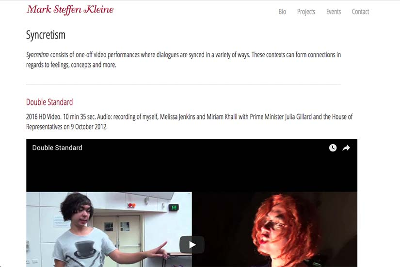 web design for an Australian performance artist - video projects page
