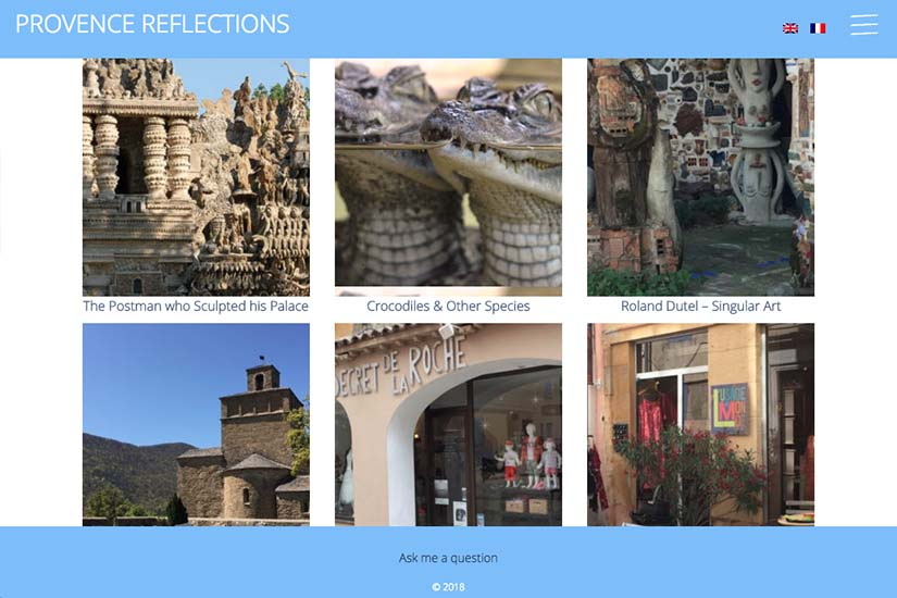 web design for a Provence travel blog - homepage thumbnails