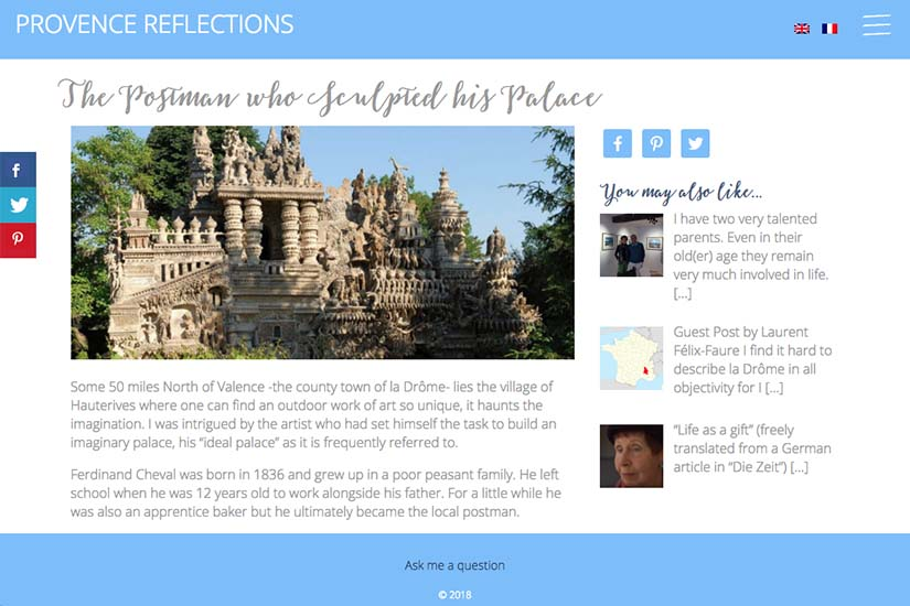web design for a Provence travel blog - example post