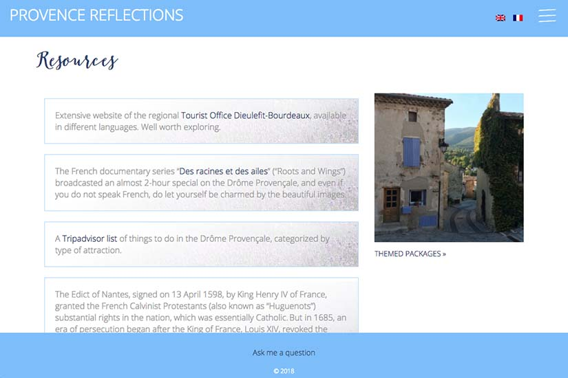 web design for a Provence travel blog - resources page