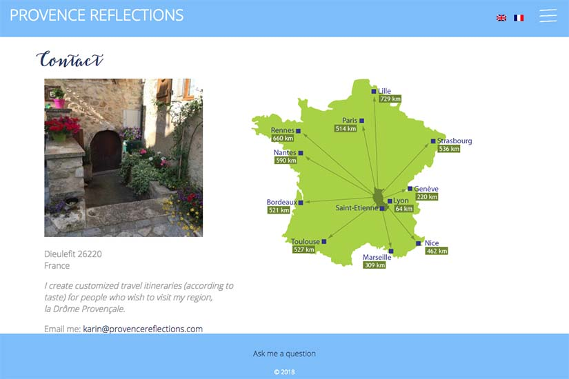 web design for a Provence travel blog - contact page