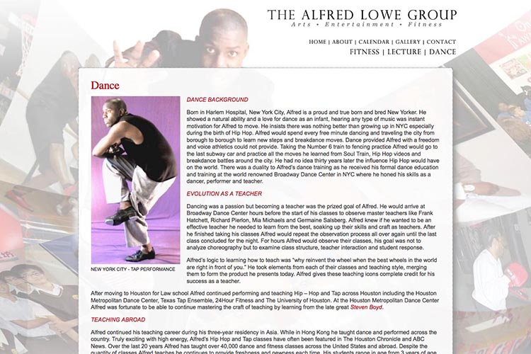 web design for a dancer, fitness coach and choreographer - dance page