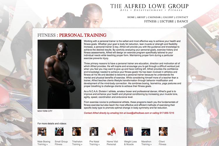 web design for a dancer, fitness coach and choreographer - boxing page