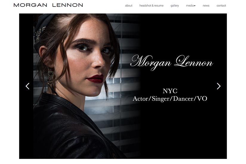 web design for a New York actor: Morgan Lennon - homepage
