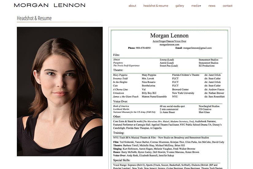 web design for a New York actor - headshot & resume page