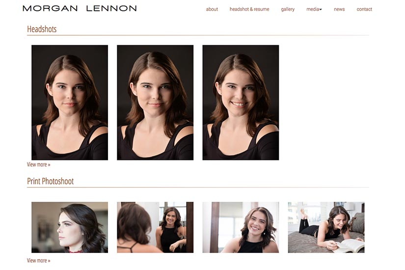 web design for a New York actor - gallery index page