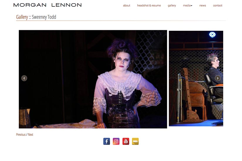 web design for a New York actor - gallery single production page