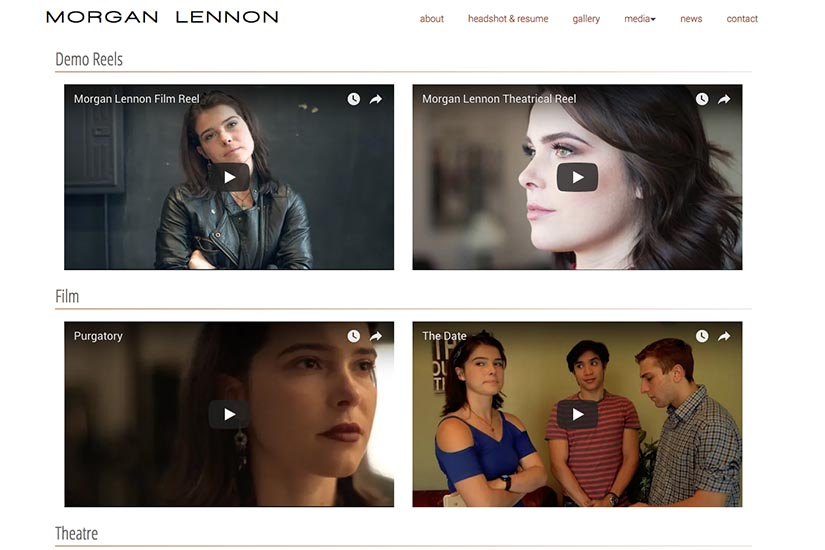 web design for a New York actor - media page