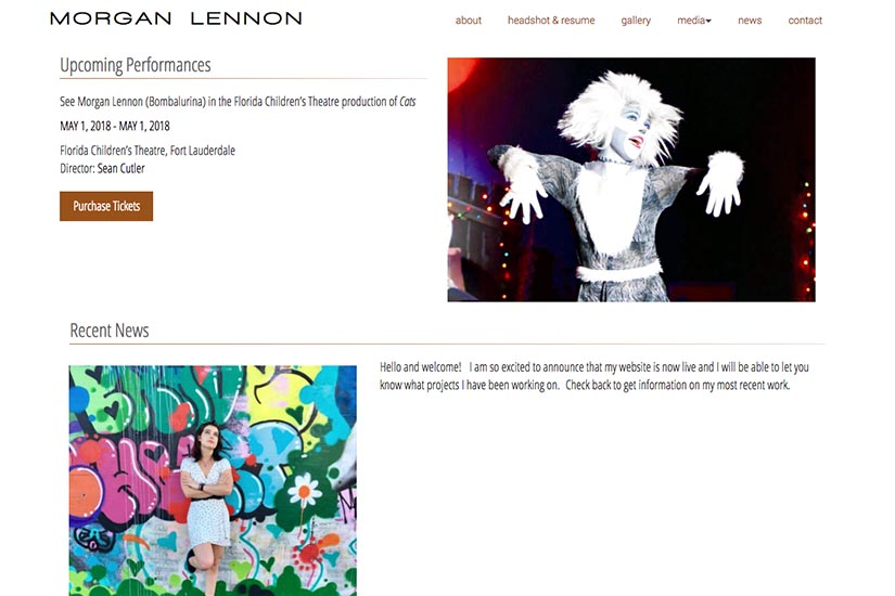 web design for a New York actor - news page