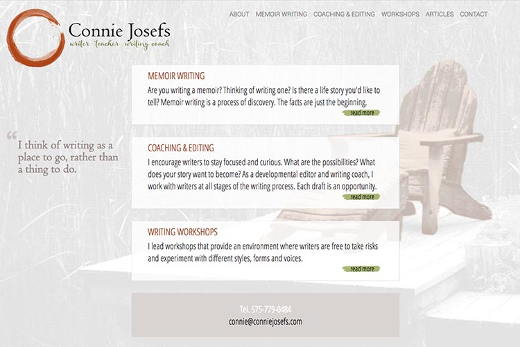 web design for a memoir-writing coach - home page