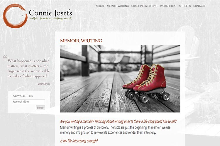 web design for a memoir-writing coach - by web designer for artists and writers, Rohesia Hamilton Metcalfe