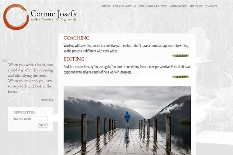 web design for a memoir-writing coach - coaching and editing page