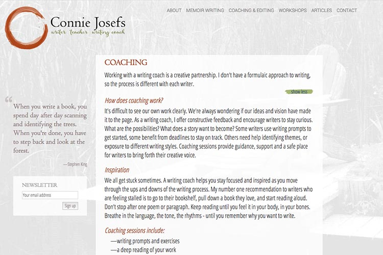 web design for a memoir-writing coach - coaching page