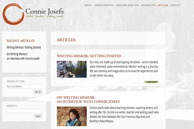web design for a memoir-writing coach - articles page