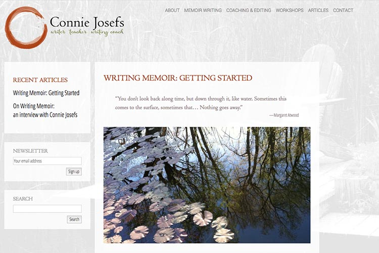 web design for a memoir-writing coach - article page