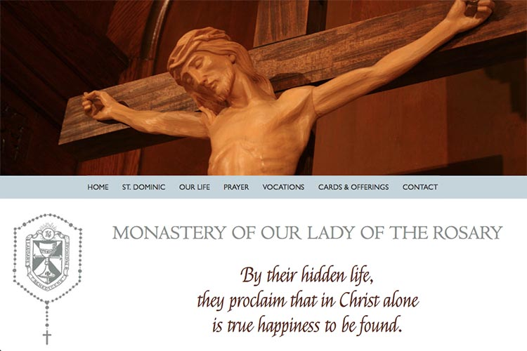 web design for a non-profit organization: monastery of our lady of the rosary - by web designer, Rohesia Hamilton Metcalfe