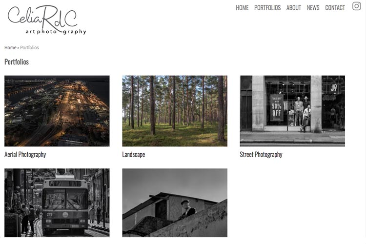 web design for a photographer - portfolios page