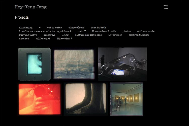 web design for sculptor and installation artist - projects page