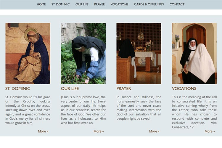 web design for a non-profit organization: monastery of our lady of the rosary - home page excerpts