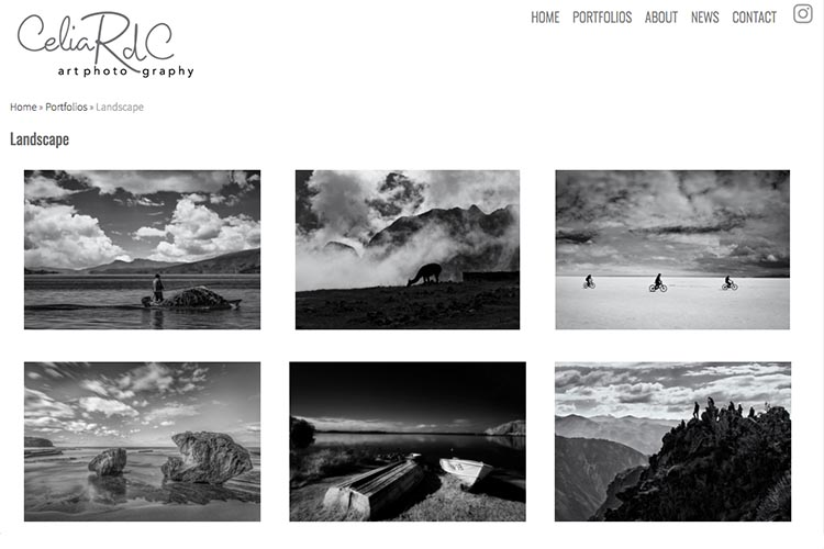 web design for a photographer - landscape index page