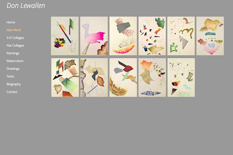 web design for an American abstract artist - new work index page