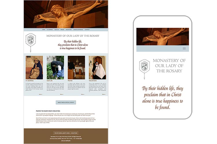 web design for a non-profit organization: monastery of our lady of the rosary - home page responsive design