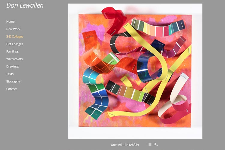 web design for an American abstract artist - 3-d collage single work page