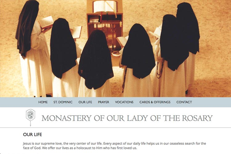 web design for a non-profit organization: monastery of our lady of the rosary - our life page