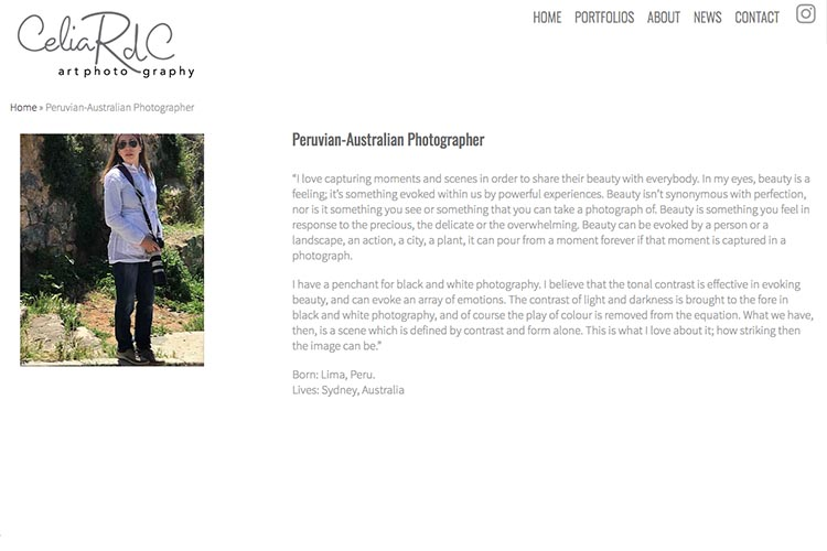 web design for a photographer - about the photographer page