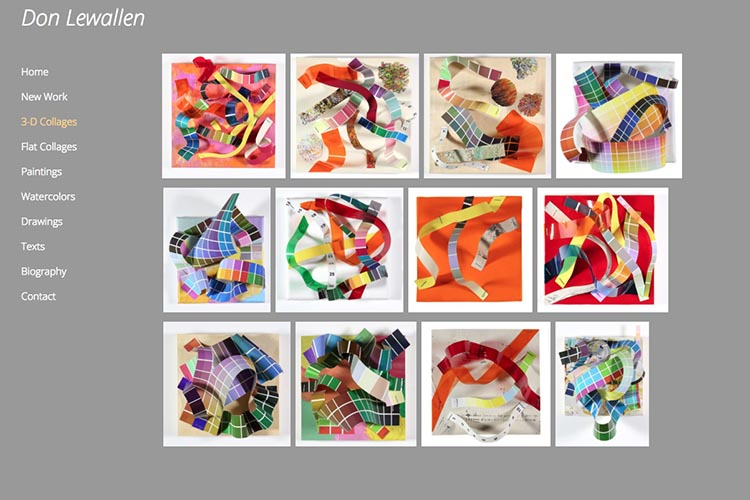 web design for an American abstract artist - 3-d collage index page