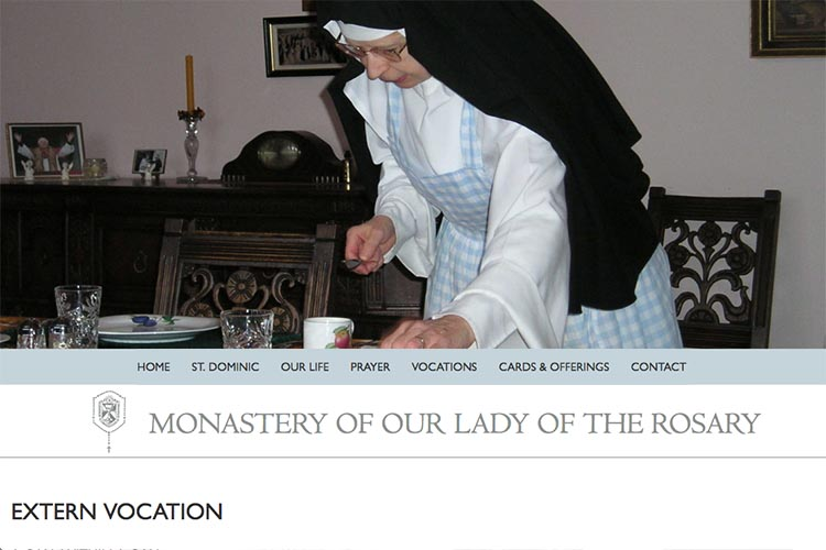web design for a non-profit organization: monastery of our lady of the rosary - extern vocation page