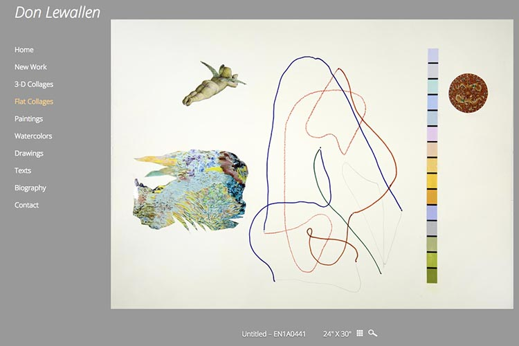 web design for an American abstract artist - flat collage single work page