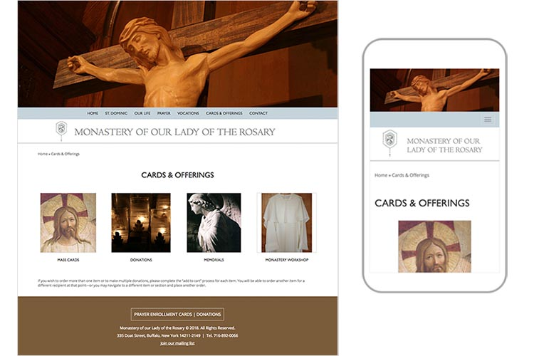 web design for a non-profit organization: monastery of our lady of the rosary - card and offerings page responsive comps ]