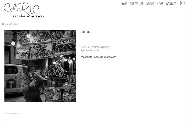 web design for a photographer - contact the photographer page