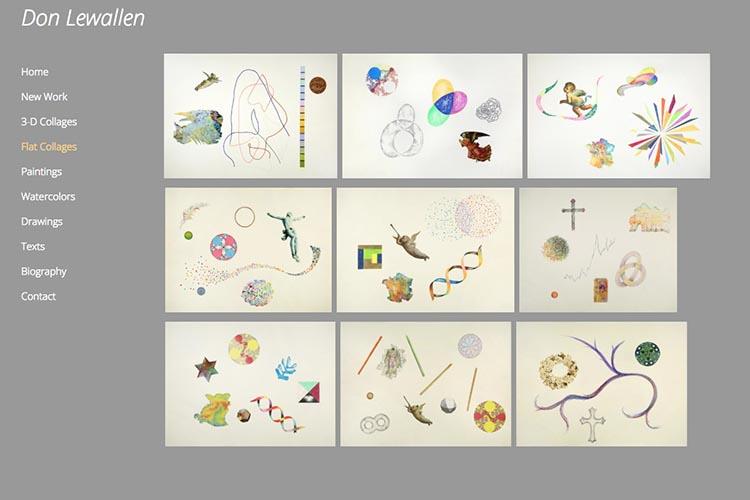 web design for an American abstract artist - flat collage index page