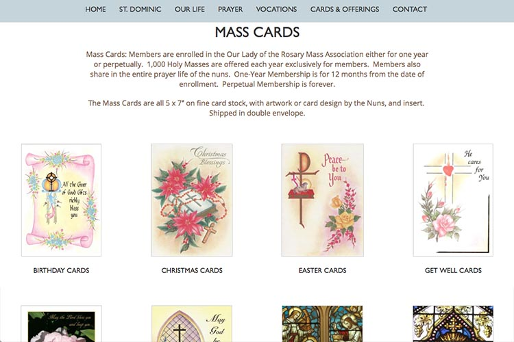web design for a non-profit organization: monastery of our lady of the rosary - mass cards page