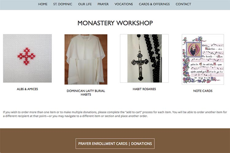 web design for a non-profit organization: monastery of our lady of the rosary - monastery workshop page
