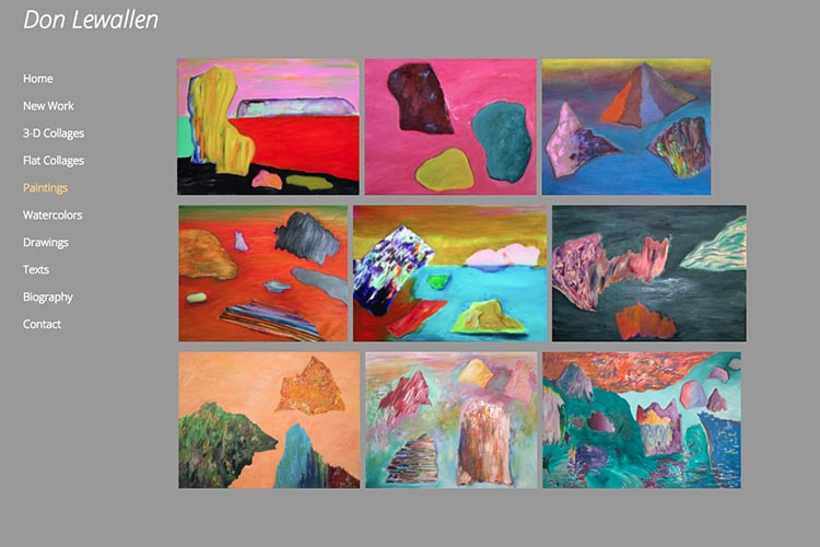 web design for an American abstract artist - paintings index page