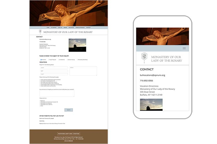 web design for a non-profit organization: monastery of our lady of the rosary - contact page responsive comps