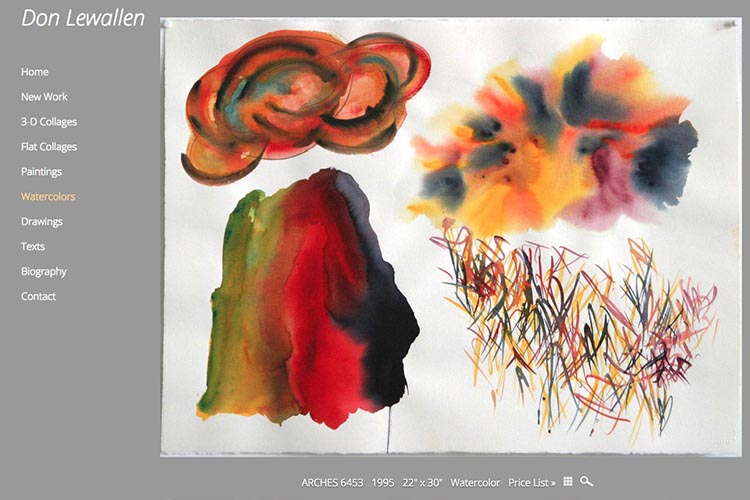 web design for an American abstract artist