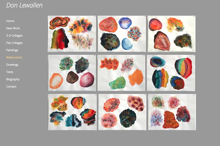 web design for an American abstract artist - watercolors index page